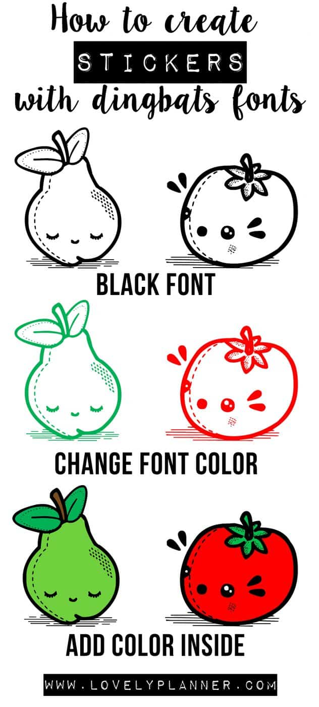 create stickers with dingbats fonts