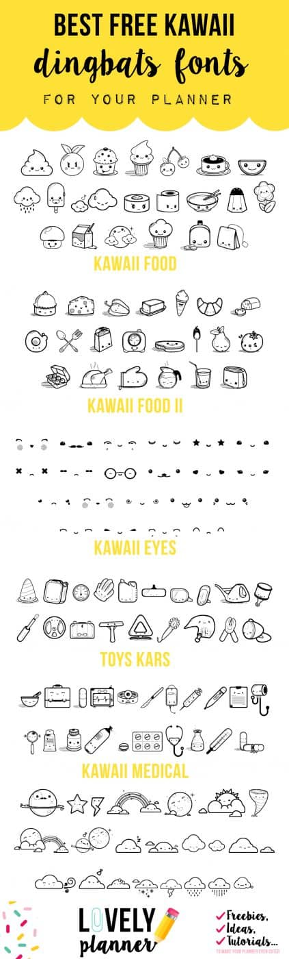 kawaii fonts dingbats roundup