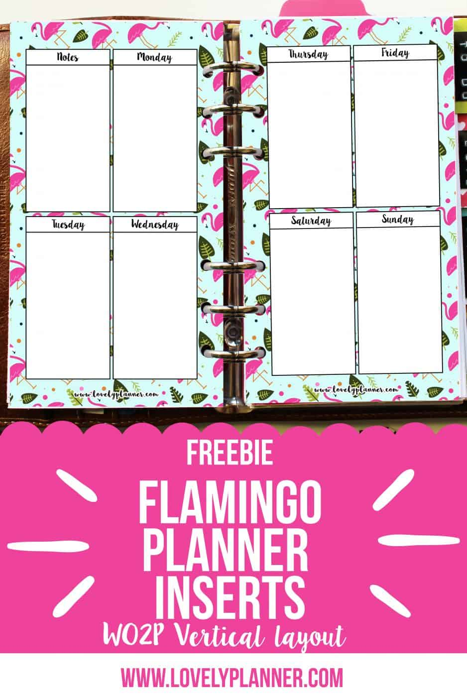 freebie flamingo WO2P vertical layout personal planner header