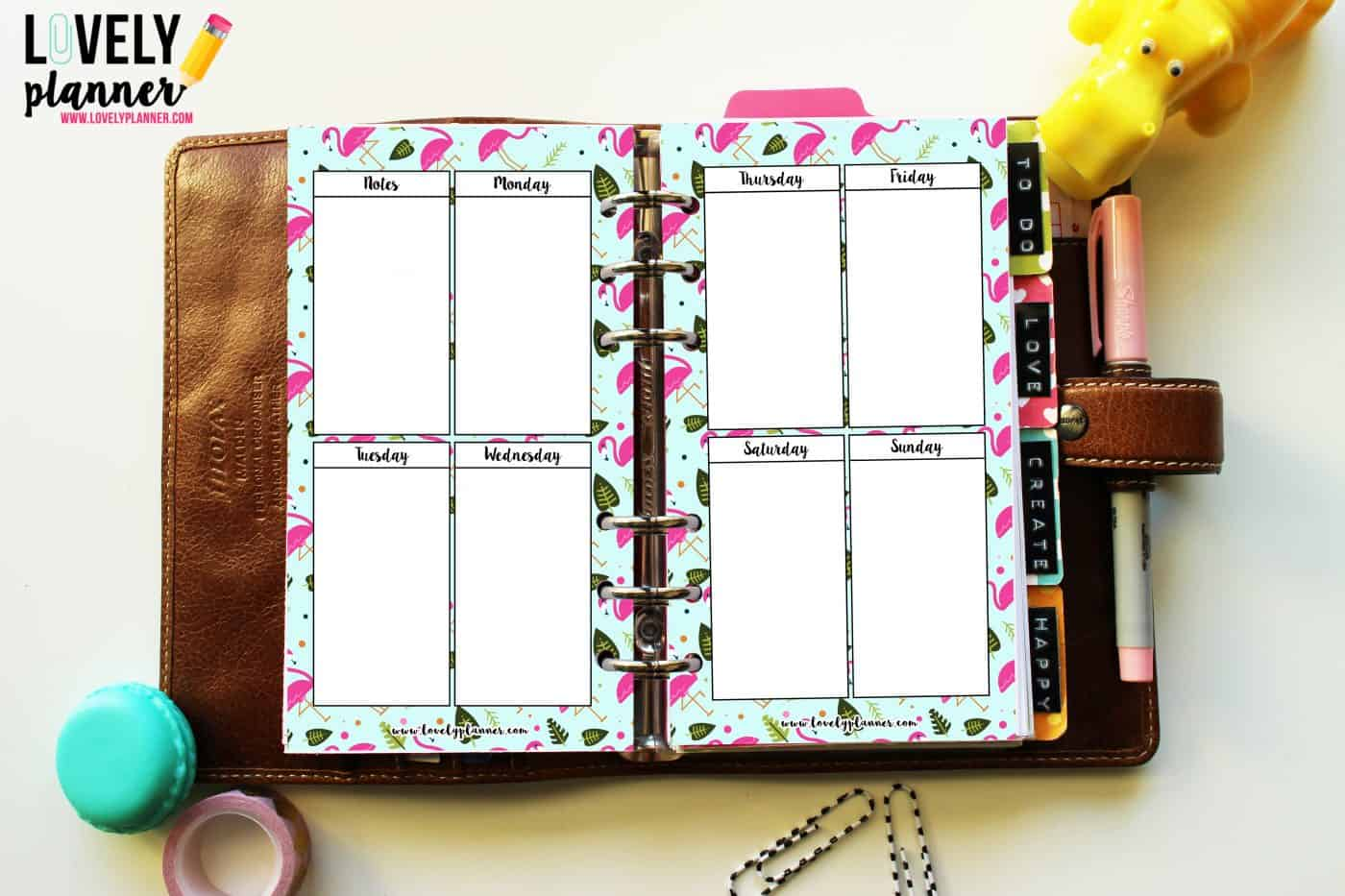 freebie flamingo WO2P vertical layout personal planner
