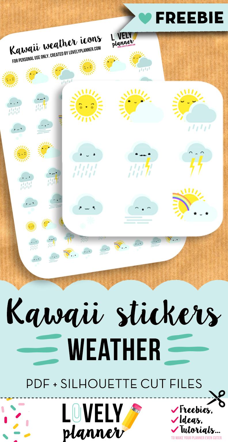 kawaii weather stickers header