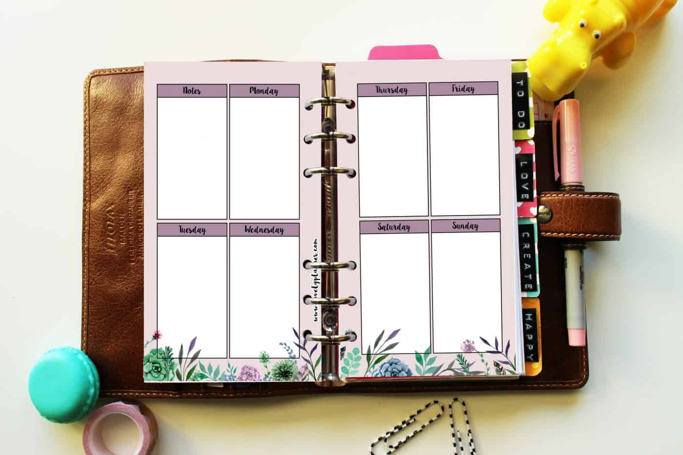 Free Watercolor succulents printable planner inserts for personal size planners. More planner freebies on lovelyplanner.com