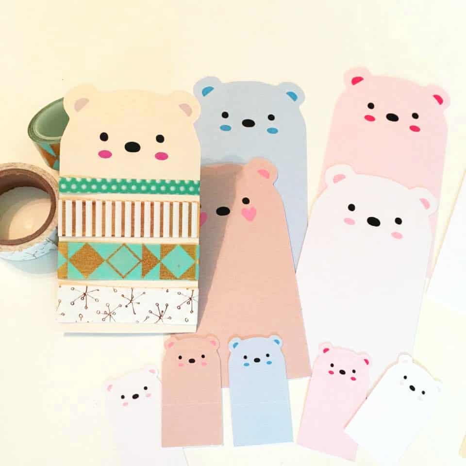 free printable bear washi tape sampler