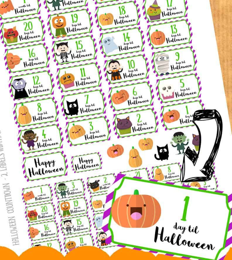 picture regarding Halloween Stickers Printable referred to as Free of charge printable : Halloween countdown stickers for your