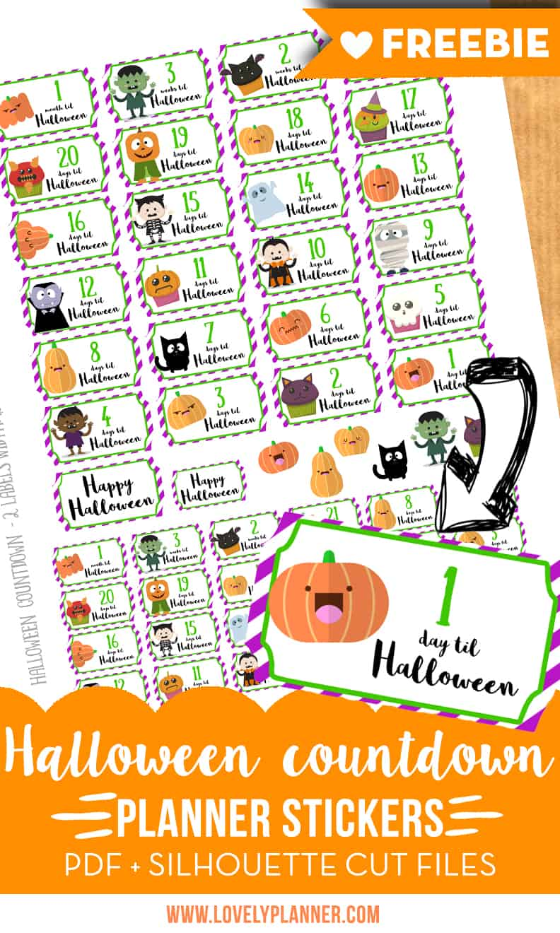 image relating to Halloween Stickers Printable identified as Totally free printable : Halloween countdown stickers for your