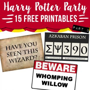 harry potter party free printables
