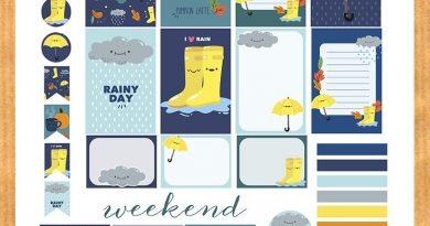 Rainy fall weekly kit planner stickers - Free printable