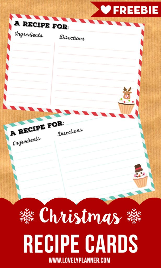 Free Printable Christmas recipe cards - Lovely Planner