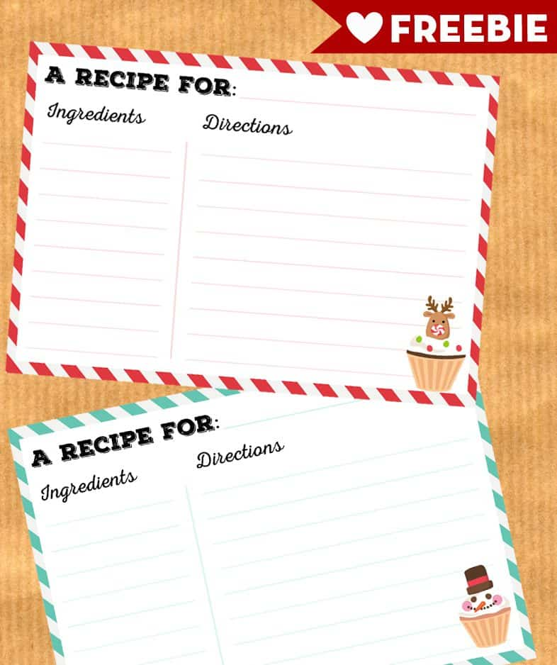 graphic about Printable Christmas Recipe Cards referred to as Absolutely free Printable Xmas recipe playing cards - Magnificent Planner
