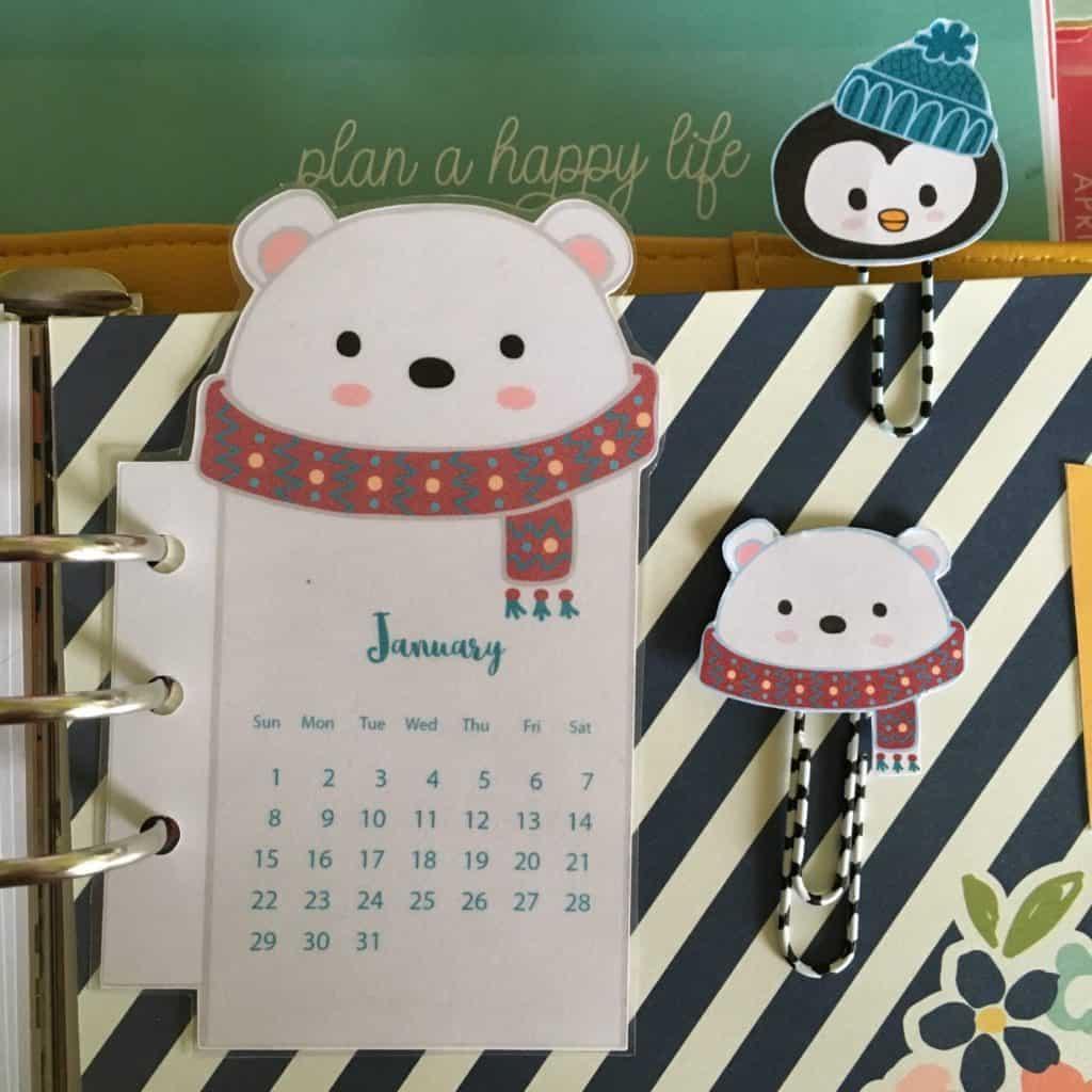 polar bear calendar paperclips free planner printable lovely