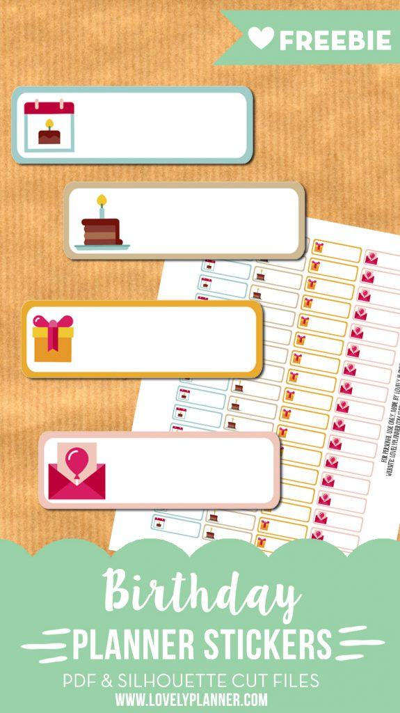 Birthday planner stickers - free printable & cut files ...