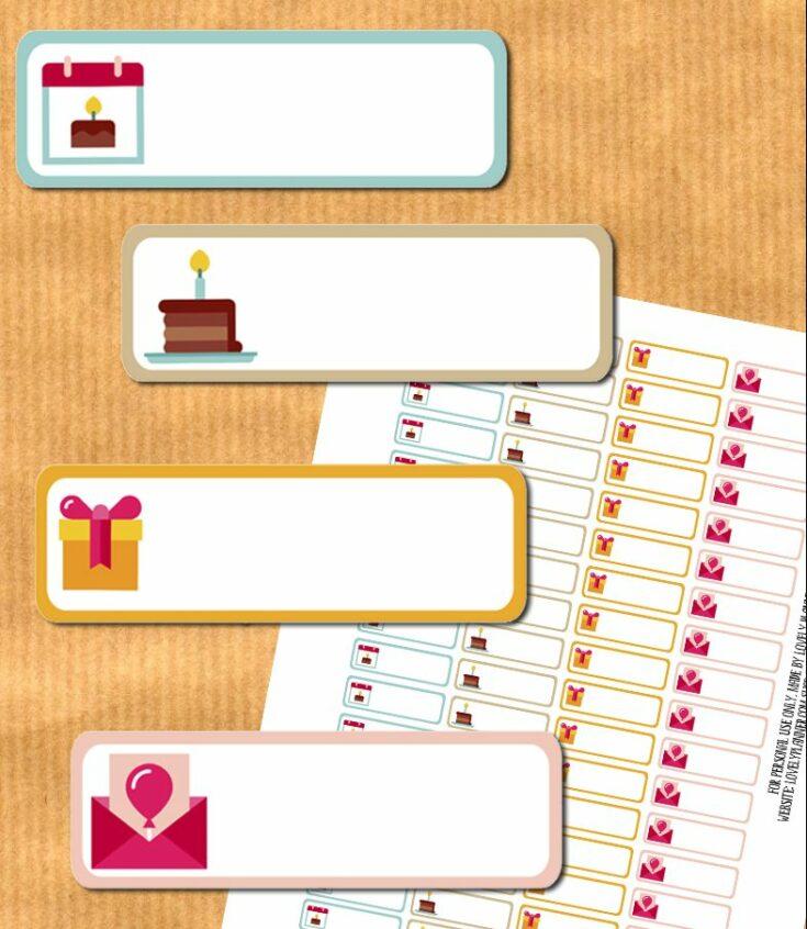 Birthday planner stickers - free printable & cut files