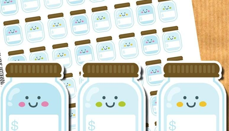graphic relating to Savings Jar Printable referred to as Discounts jar stickers - Cost-free printable stickers and slice data files