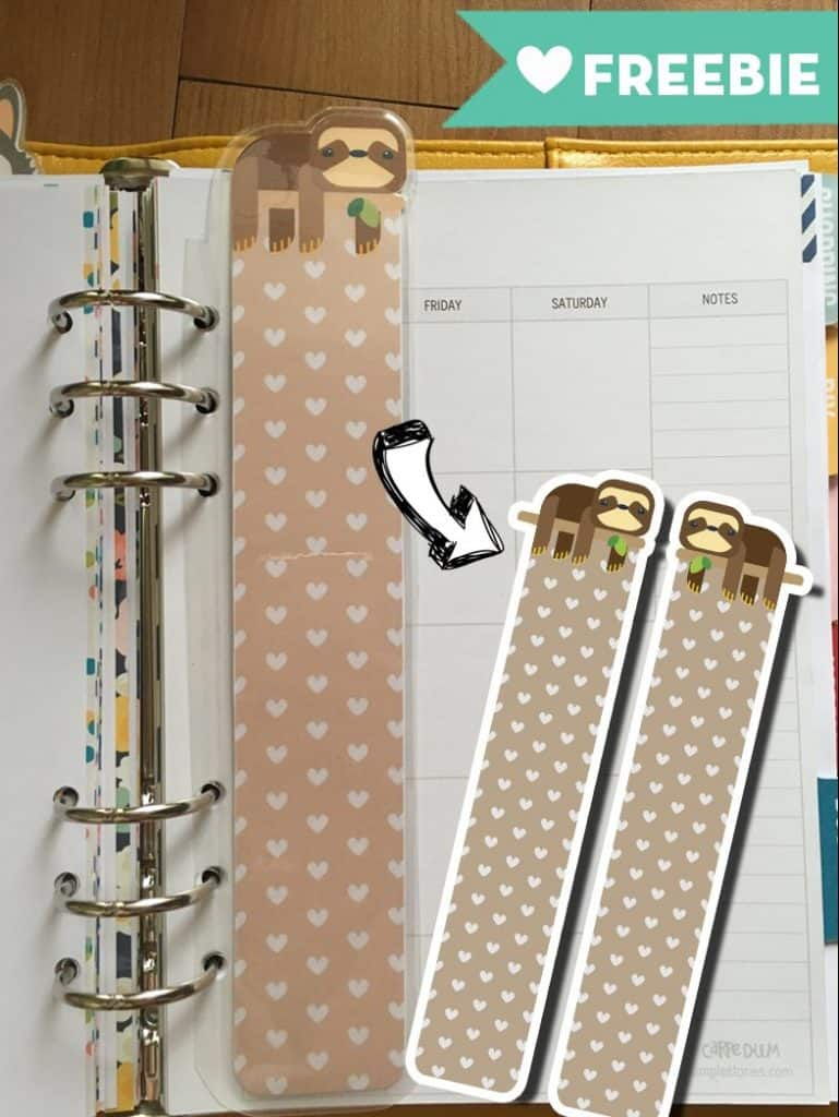 sloth page marker tab for a5 planners