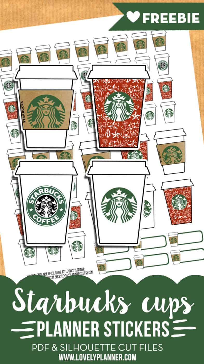 starbucks cups stickers free planner printable advent calendar