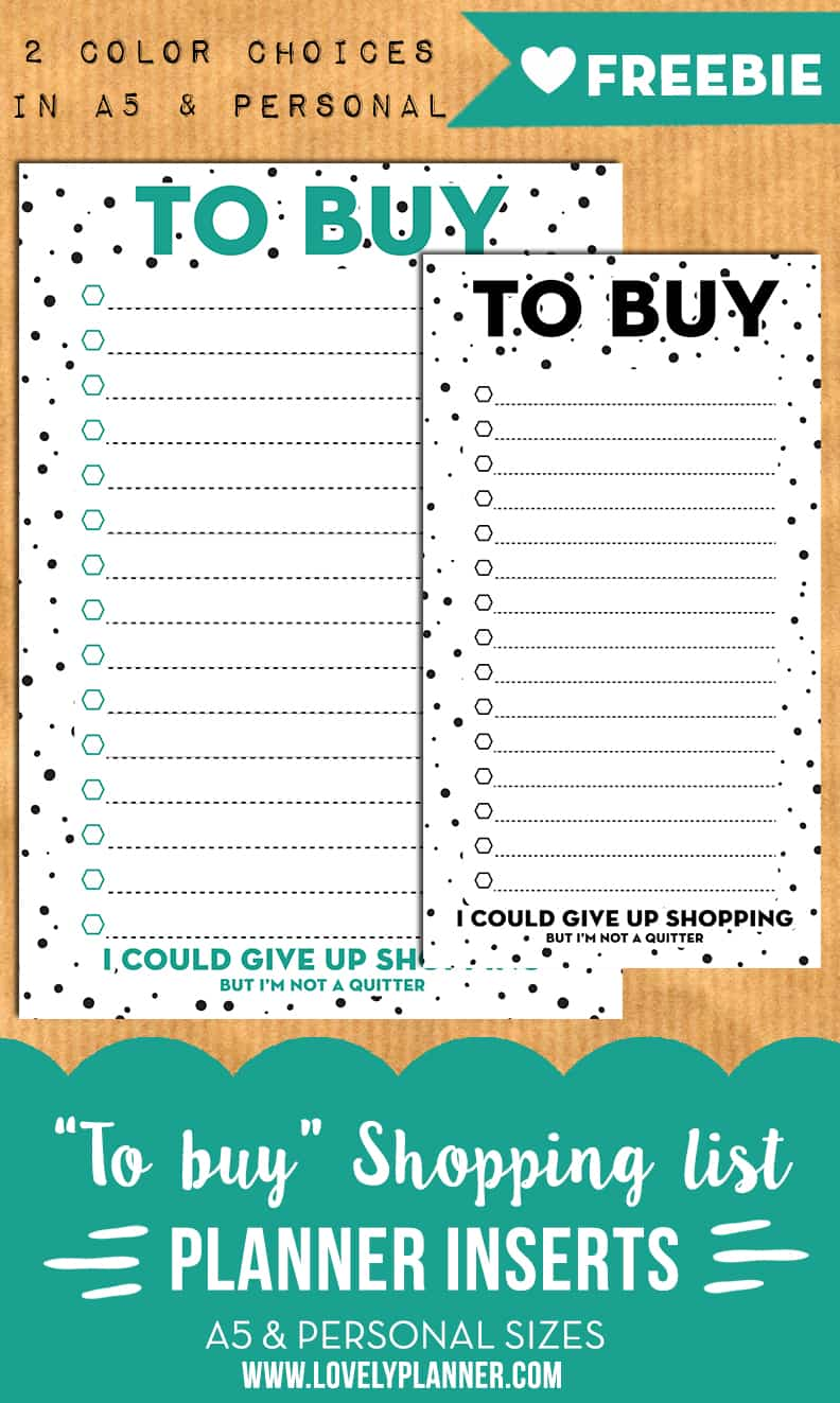 To buy / shopping list planner inserts for A5 & personal ...
