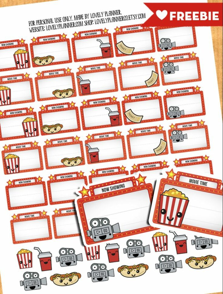 45 Cute Movie Night Planner Stickers - Free printable PDF & Cut file