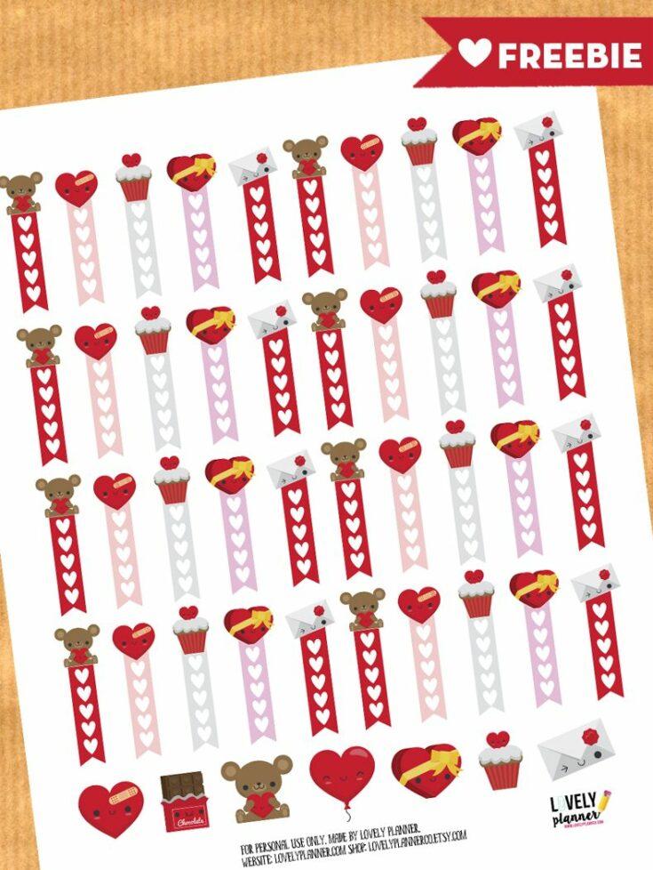 Love / Valentine's day checklist stickers - Free planner printable & cut file