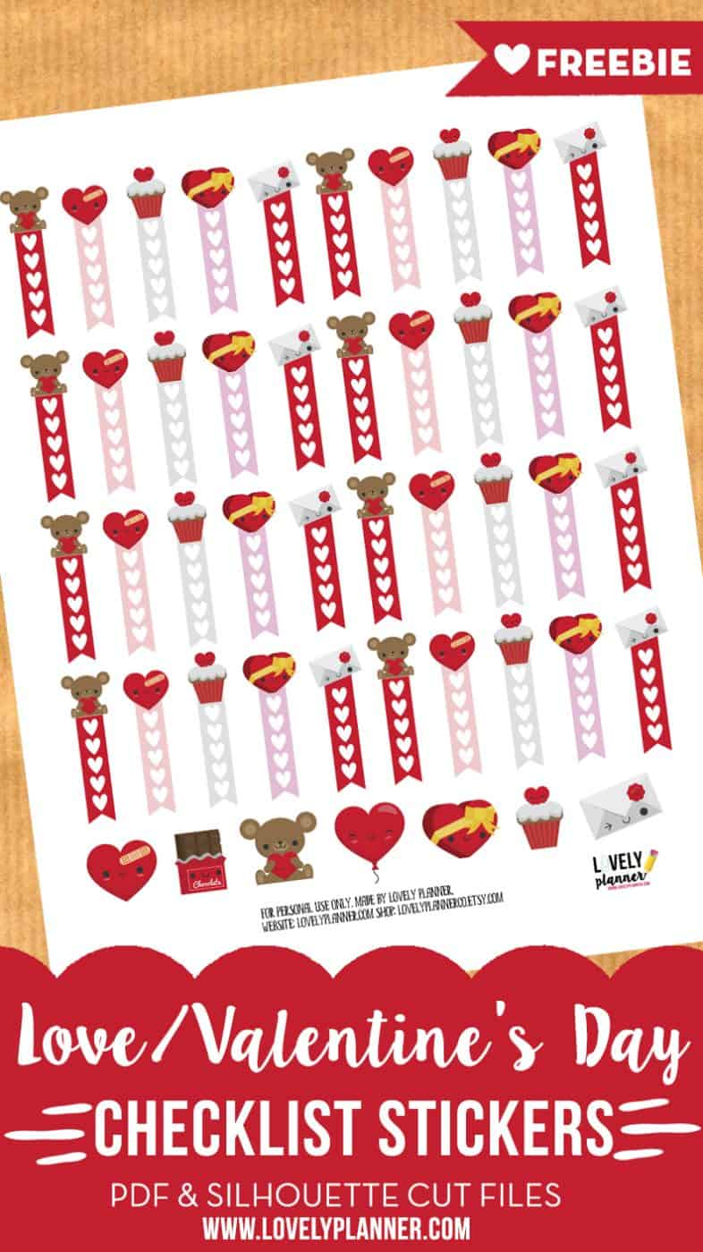 photo about Valentine Stickers Printable named Enjoy / Valentines working day list stickers - Free of charge planner
