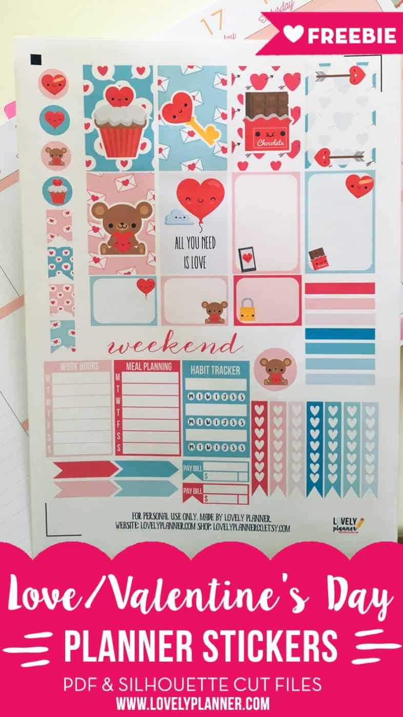 Love / Valentine's day planner stickers weekly kit - Free ...