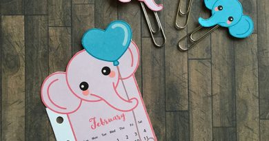 Pink elephant calendar divider + paperclips for your planner