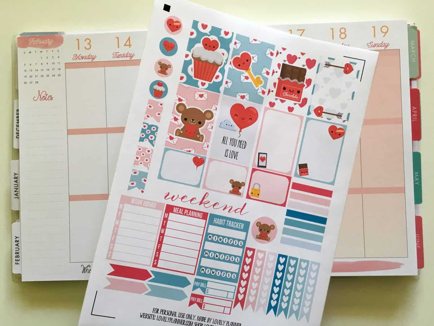 Love / Valentine's day planner stickers weekly kit - Free printable and cut file