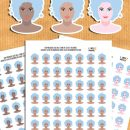 Free Printable Hair Washing Planner Stickers in 3 Skin Tones