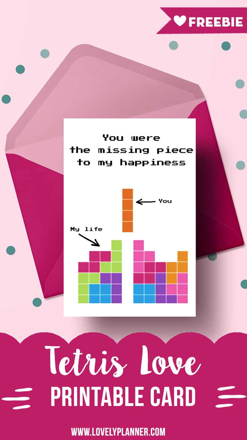 Free Printable Tetris Geeky Romantic Card