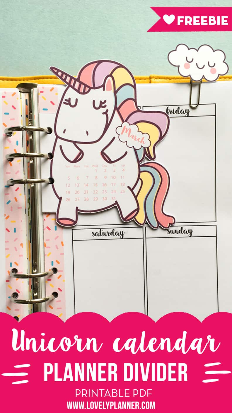 picture relating to Printable Dividers identified as Unicorn calendar divider + cloud paper clips for your