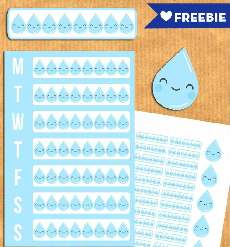 Free Water Intake Tracker Planner Stickers - Printable and Cut file