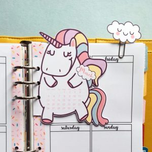 Unicorn calendar divider + cloud paper clips for your planner - Free printable