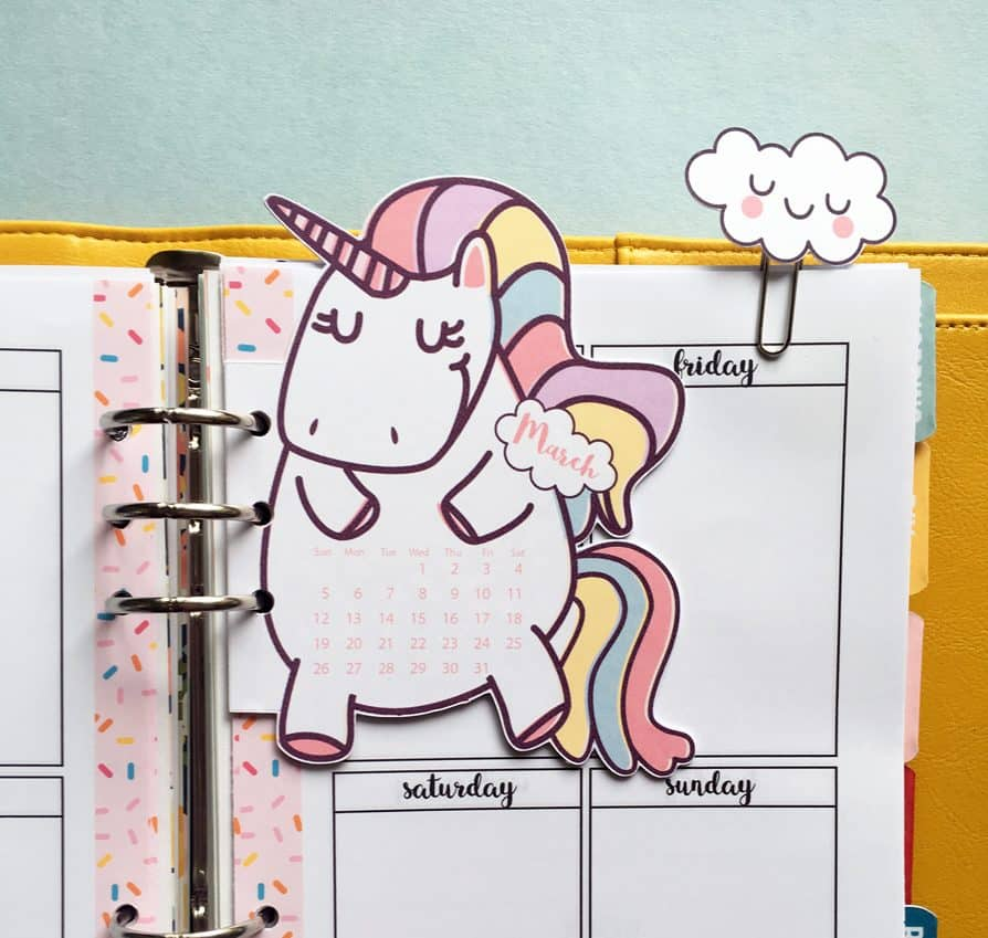 unicorn calendar divider   cloud paper clips for your
