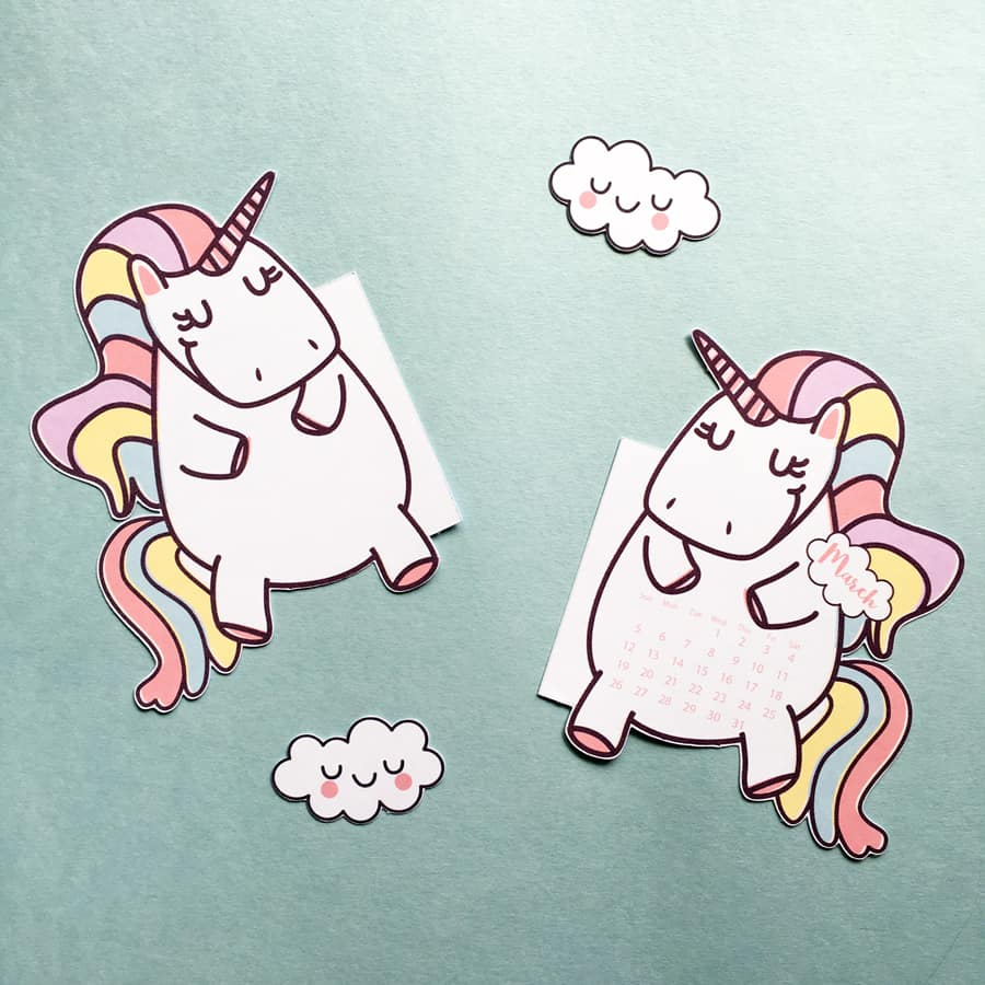 unicorn calendar divider cloud paper clips for your planner free