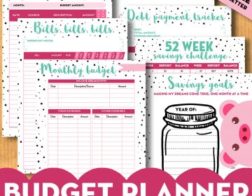 Budget planner mock up Etsy dots mint