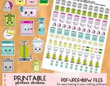 Etsy L cleaning kawaii stickers v2 outline