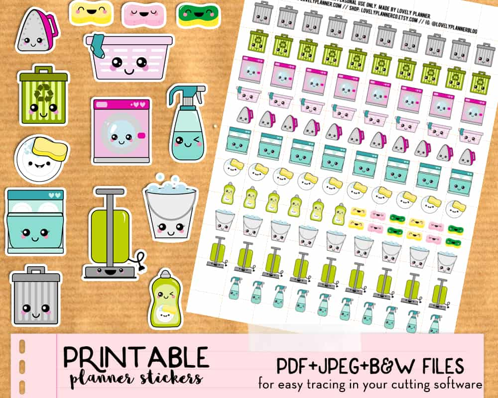 picture about Free Printable Stickers for Planners called Kawaii Trash Packing containers stickers - Cost-free Printable and Slice record