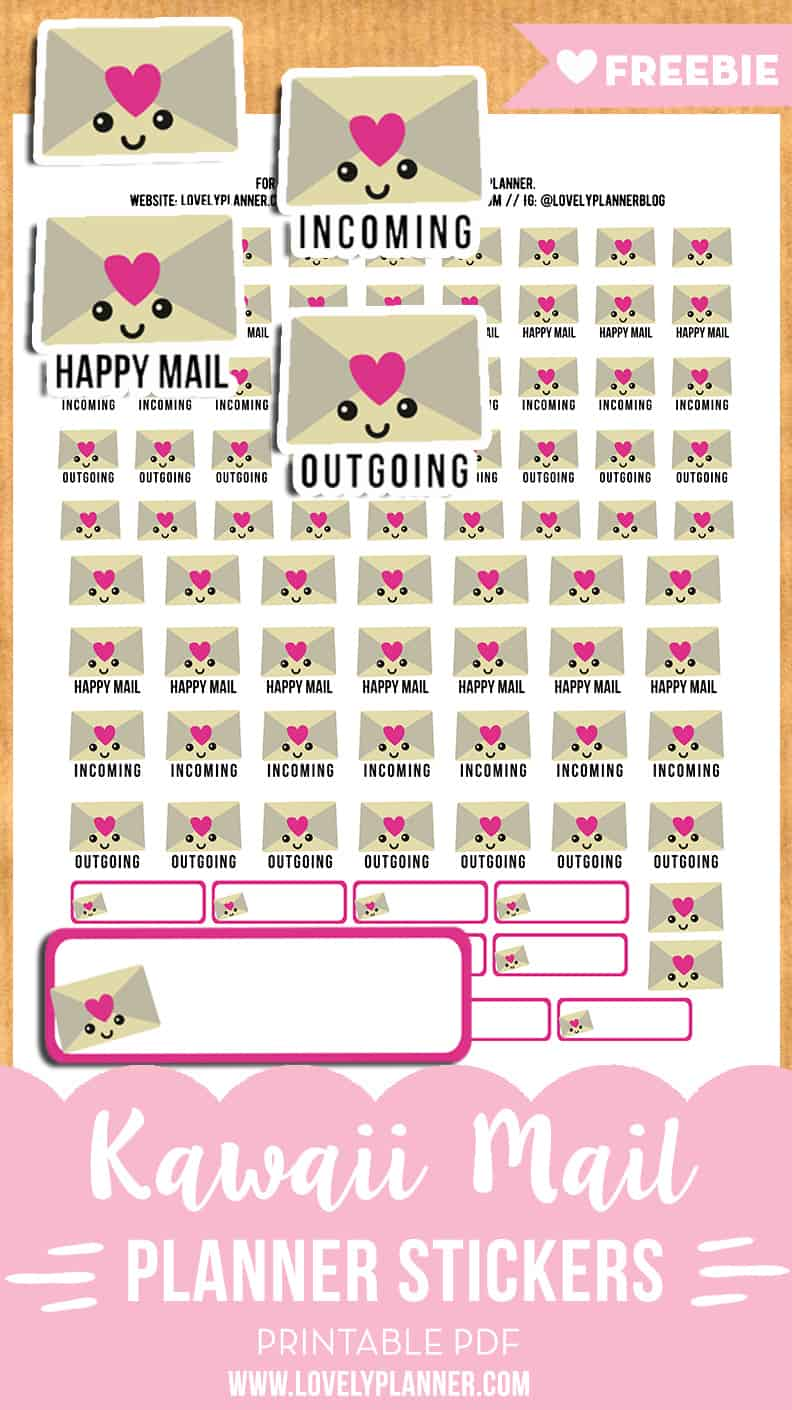 Kawaii Happy Mail Envelope Stickers - FREE Printable ...