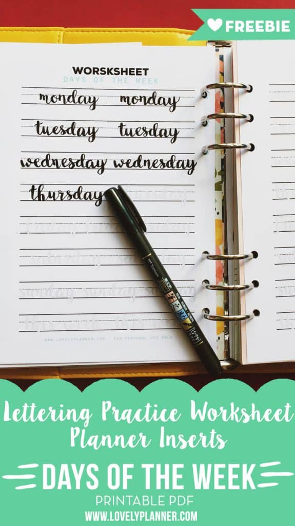 Free Printable Days of the week lettering worksheet