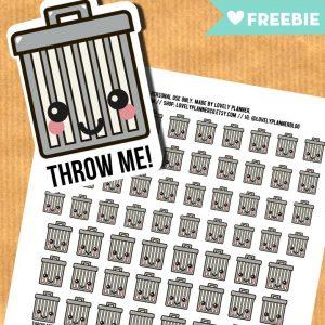 Kawaii Trash Bins stickers - FREE  Printable and Cut file
