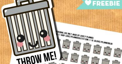 Kawaii Trash Bins stickers - FREE  Printable and Cut file
