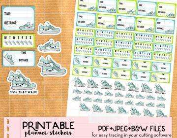 Etsy listing Kawaii walk run stickers LP