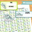 Kawaii Steps and Run tracker stickers for your planner – Free Printable