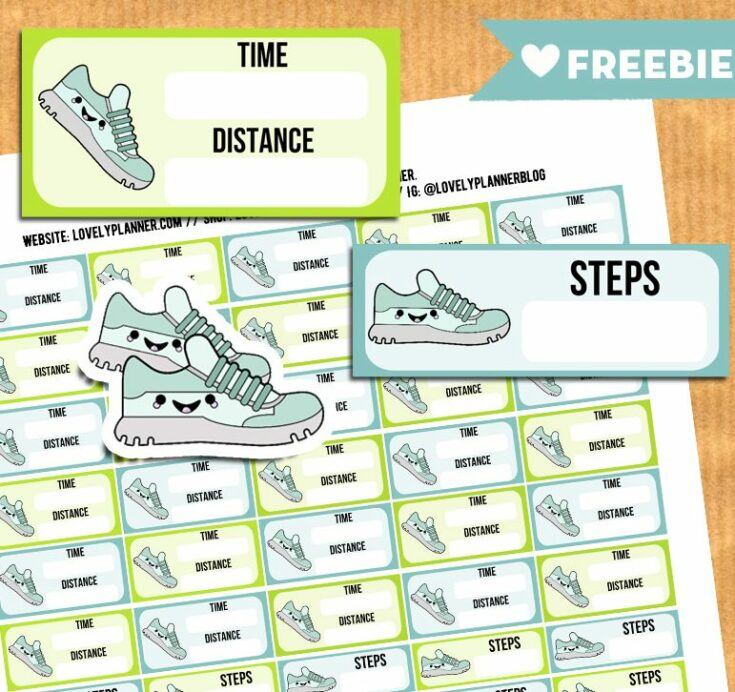 Kawaii Steps and Run tracker stickers for your planner - Free Printable