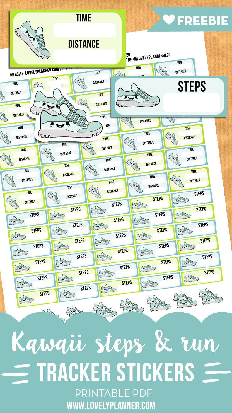 kawaii steps and run tracker stickers for your planner