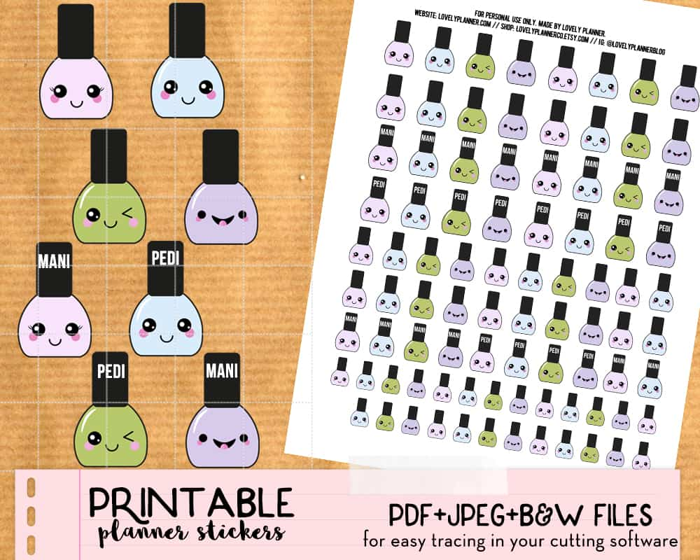 Etsy listing kawaii nail polish stickers clipart - Lovely Planner