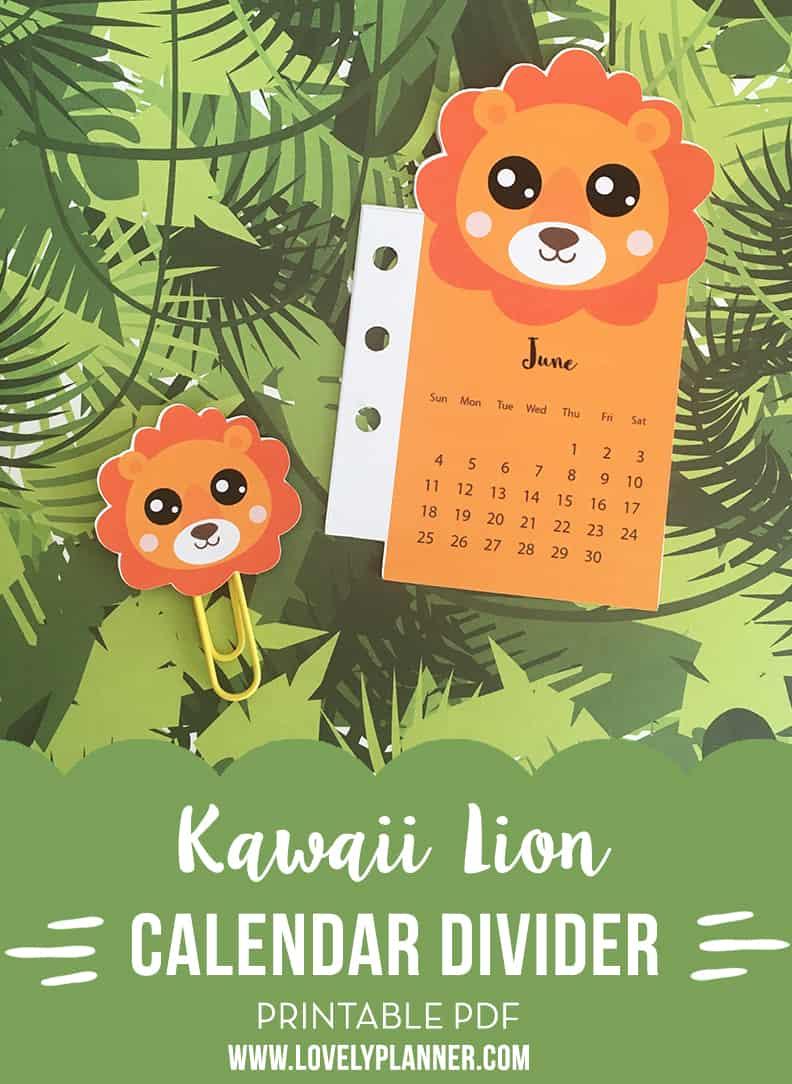 Free Printable Lion Planner Divider