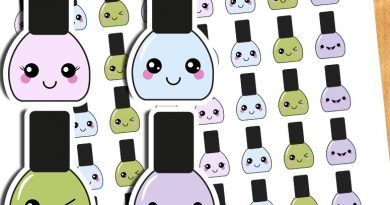 FREE Kawaii nail polish planner stickers - Printable & cut file