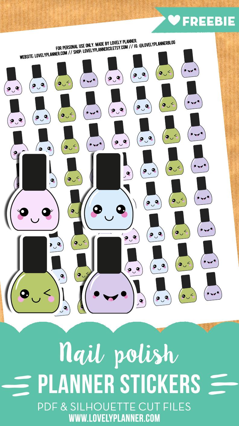 FREE Kawaii nail polish planner stickers - Printable & cut file ...