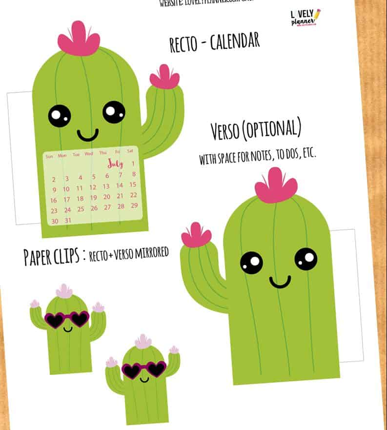 image relating to Cactus Printable called Adorable Cactus Calendar Divider + Paperclip for your planner