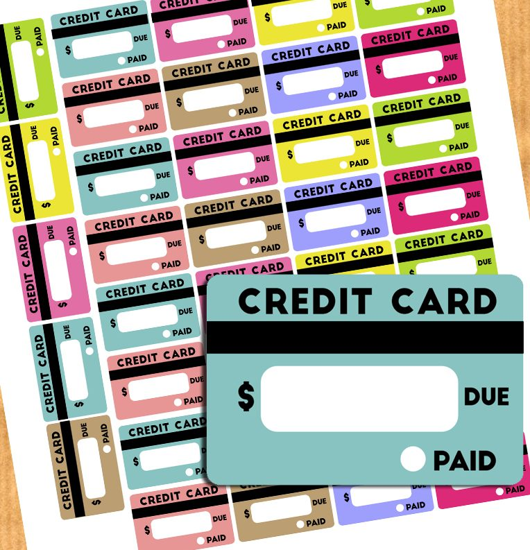 free credit card bill reminder stickers